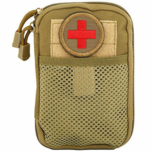 squaregarden Tactical Utility Pouch,Nylon Rip-stop Molle Medical First Aid Kit Bag with Medic Cross Patch