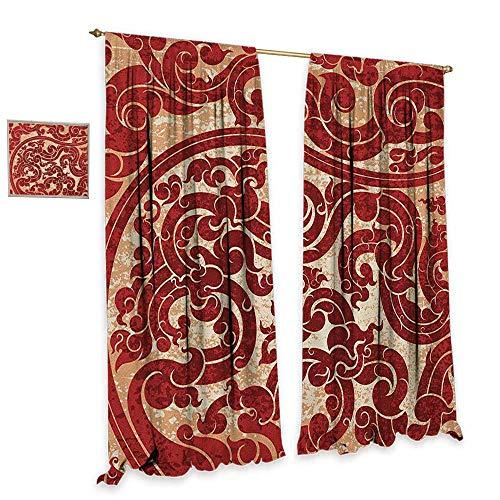 (homefeel Antique Patterned Drape for Glass Door Thai Culture Vector Abstract Background Flower Pattern Wallpaper Design Artwork Print Waterproof Window Curtain W120 x L84 Ru)