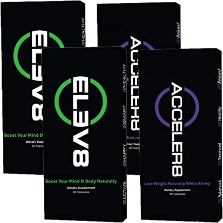 BEpic - ELEV8 ACCELER8 Combo Pack - Boost Your Body (60 Day Supply - 2 Boxes Acceler8, 2 Boxes Elev8)