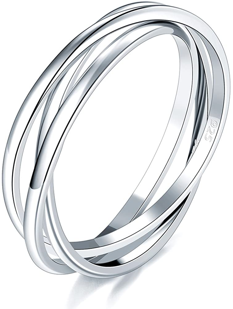 BORUO 925 Sterling Silver Ring Triple Interlocked Rolling High Polish Ring