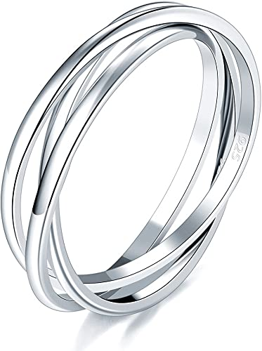925 Sterling Silver Ring Triple Interlocked Rolling High Polish Ring