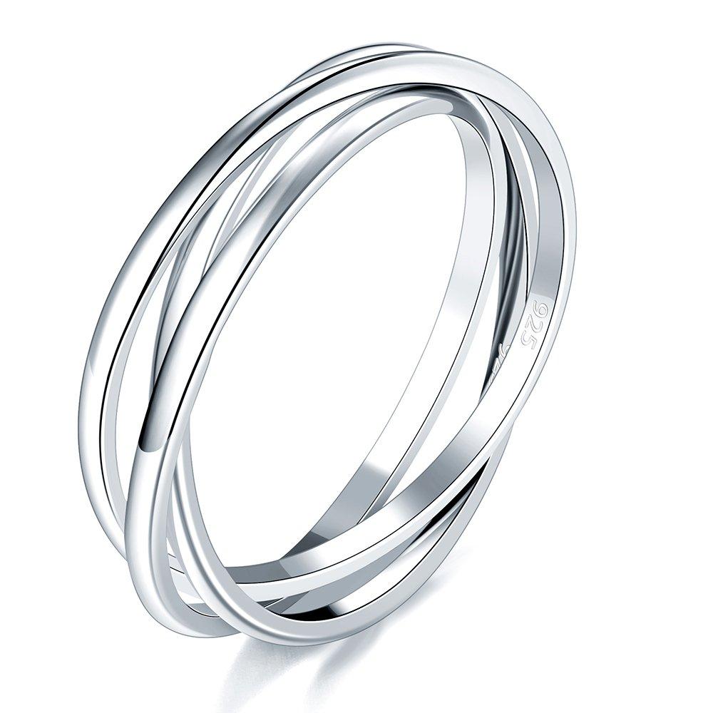 BORUO 925 Sterling Silver Ring Triple Interlocked Rolling High Polish Ring Size 8