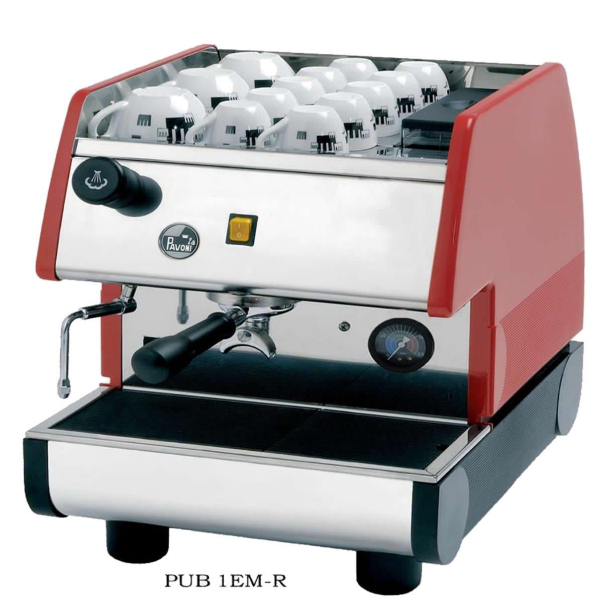 La Pavoni Pub 1em-r - 1 grupo comercial café capuchino máquina, pour-in. Rojo: Amazon.es: Hogar