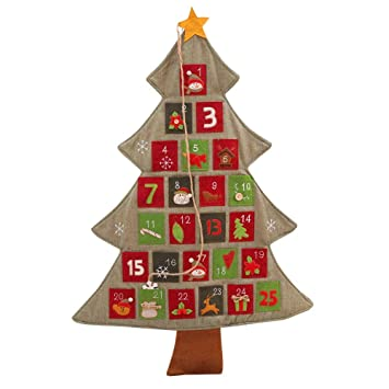 large christmas tree linen calendar wall xmas ornaments advent door hanging piece pendant decoration hotel lobby - Large Christmas Tree Ornaments