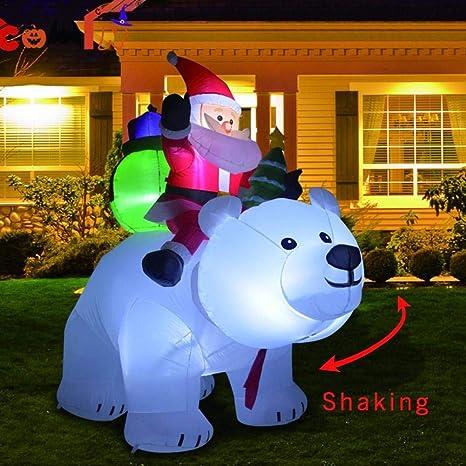 Amazon.com: AUZZO HOME Papá Noel inflable de Navidad y oso ...