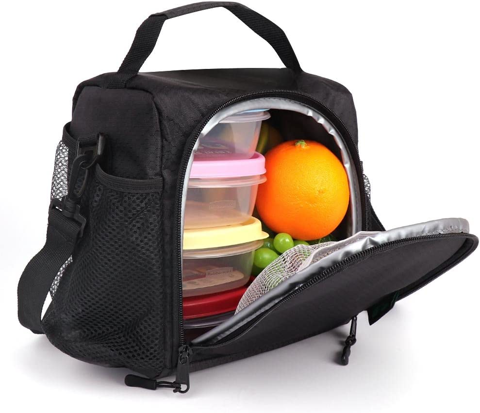 SMALL Lunch Box 6 Cans Lunch Bag ONE MEAL with Bottle Holder Shoulder Strap,Lunch Tote for Work Gym Picnic Fishing (Black N11) by F40C4TMP