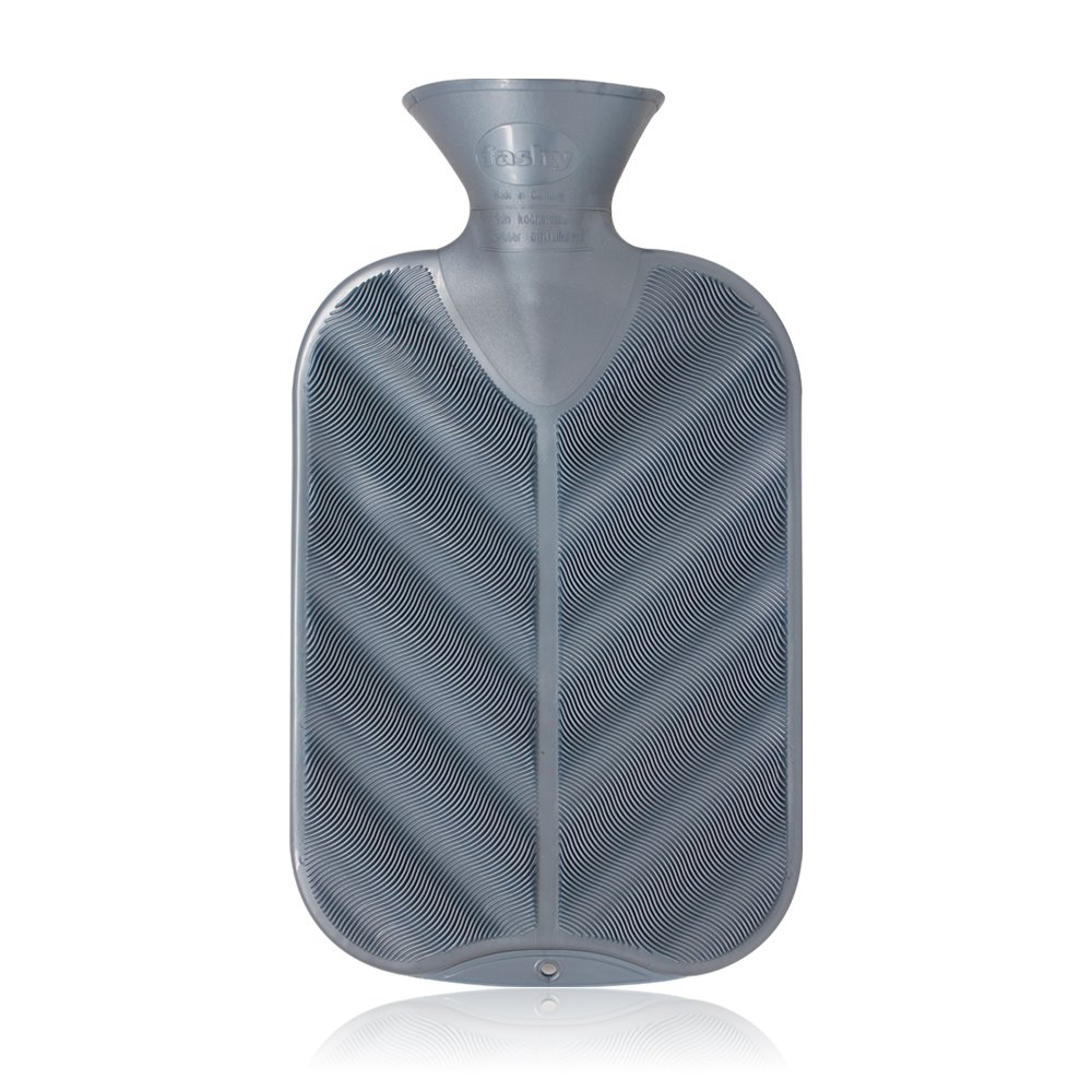 Fashy Classic Rubber Hot Water Bottle 3D Copper Ribbed Grey - Made in Germany