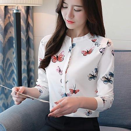 KCMCY Blusas Blusas De Mujer Estampado Blusa De Mujer Blusa De Oficina Blusa Mujer Tallas Grandes Blusa Blanca Camisas De Manga Larga De Mujer, XXL: Amazon.es: Hogar