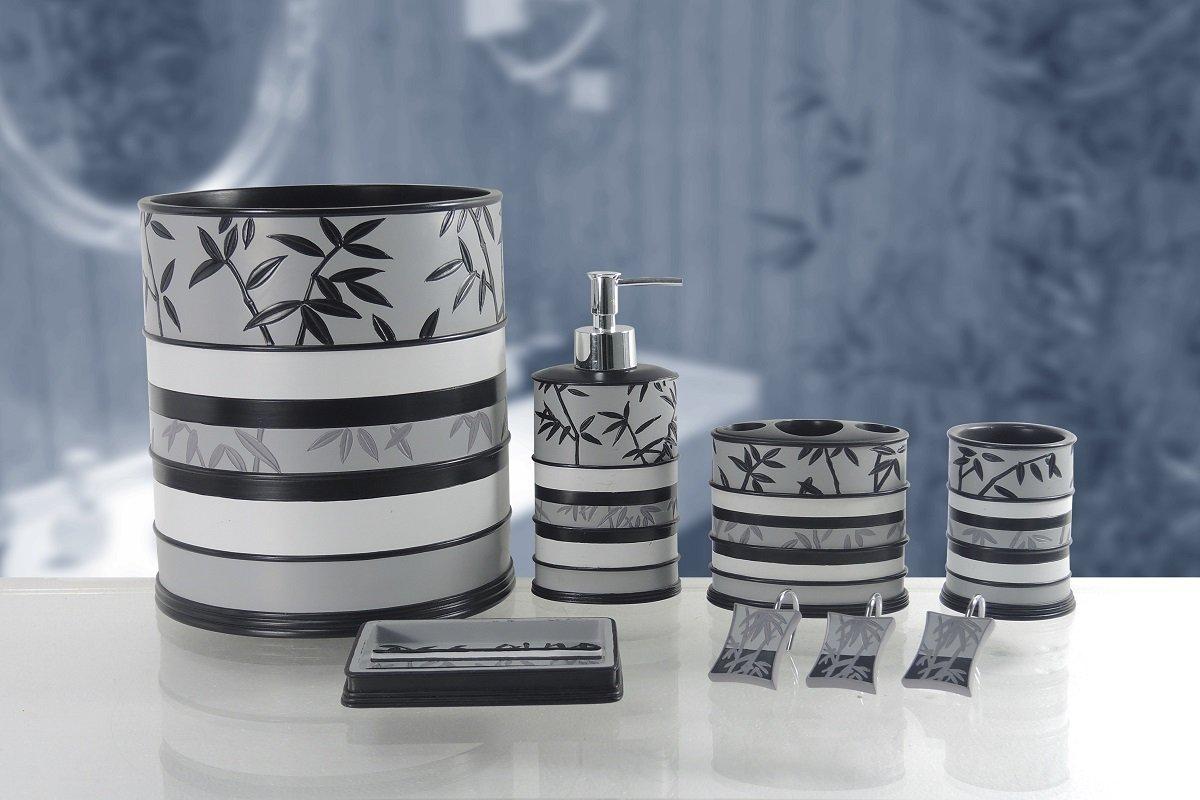 BH Home & Linen 6-Piece Decorative Bathroom Accessory Set Made of Ceramic (Venezia Gray/Black) by BH Home & Linen (Image #1)