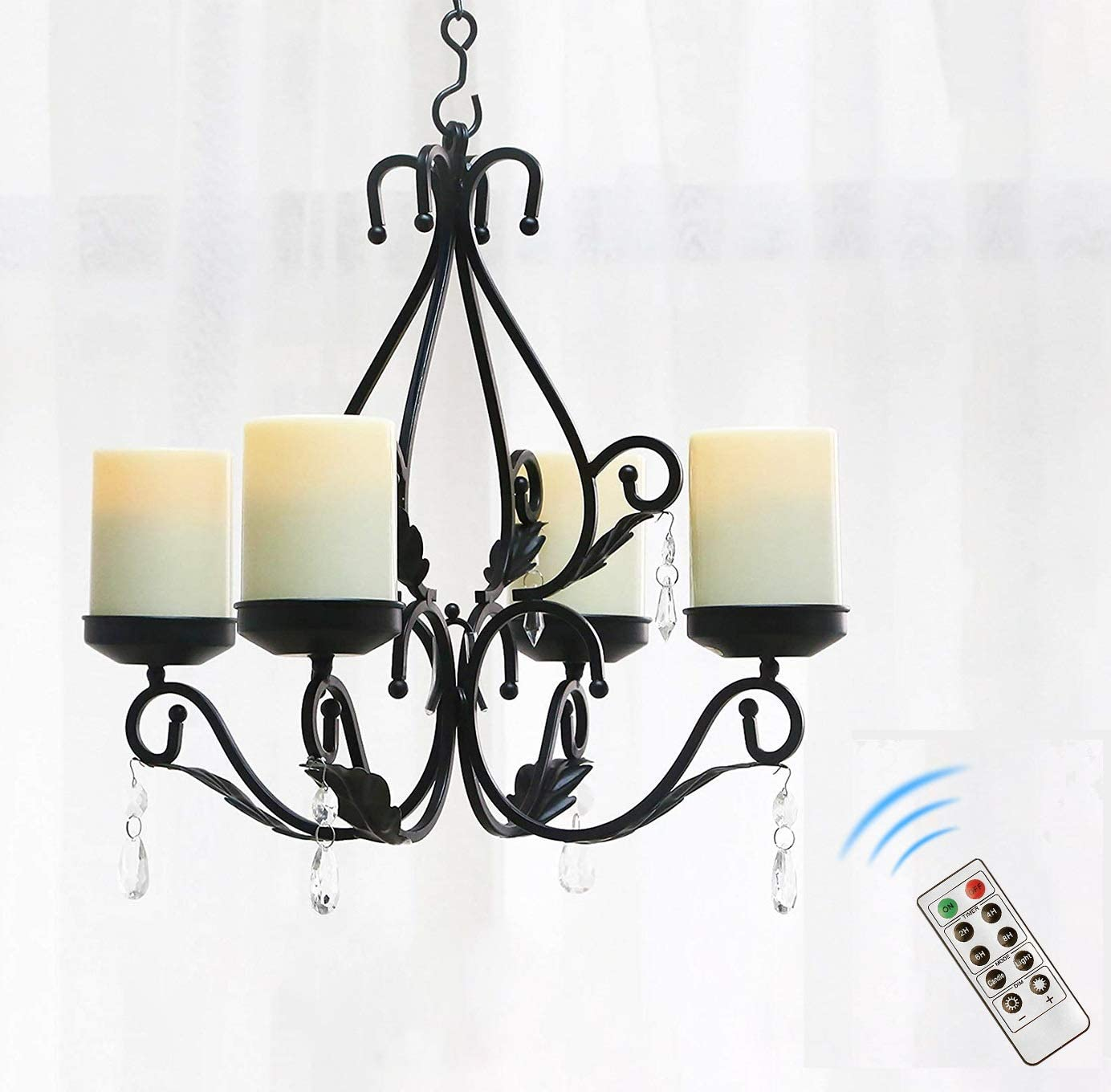 Giveu 3 In 1 Lighting Chandelier With 4pcs Battery Operated Led Candle With Remote Table Centerpiece For Indoor Or Outdoor Gazebo Patio Decoration Black Home Kitchen