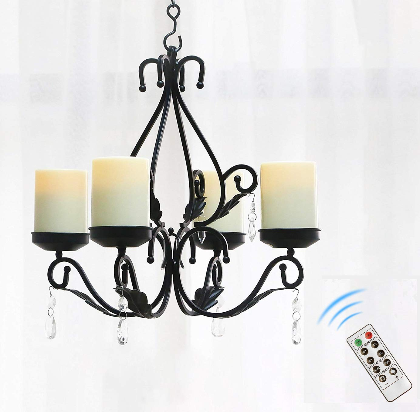 GiveU 3 in 1 Lighting Chandelier Chain Hang Metal Wall Sconce With 4pcs Battery Operated Led Candle With Remote, Table Centerpiece for Indoor or Outdoor Gazebo,Patio Decoration, Black by GiveU