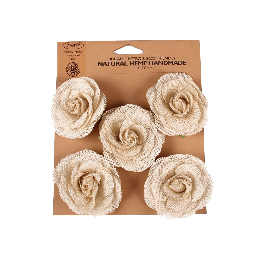 Junxia DIY Natural Hessian Burlap Rose Flowers for any Craft, Gift, Home or Rustic Wedding Decoration(5pcs)(White)