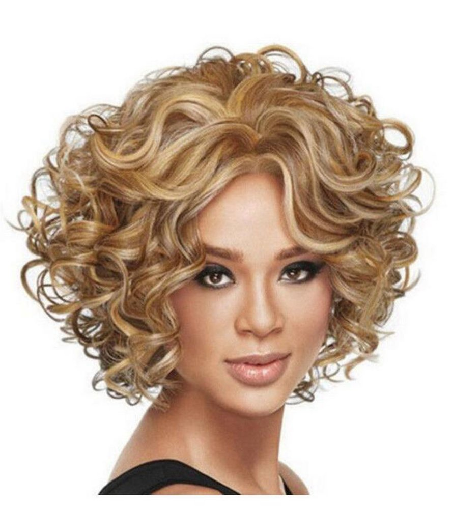 Diy-Wig Womens Fashion Short Fluffy Curly Cute Gold Cosplay Synthetic Full Hair Wig