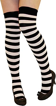 Ladies Over The Knee Thigh High Stripe Socks Adults Stretchy Fancy Dress Socks
