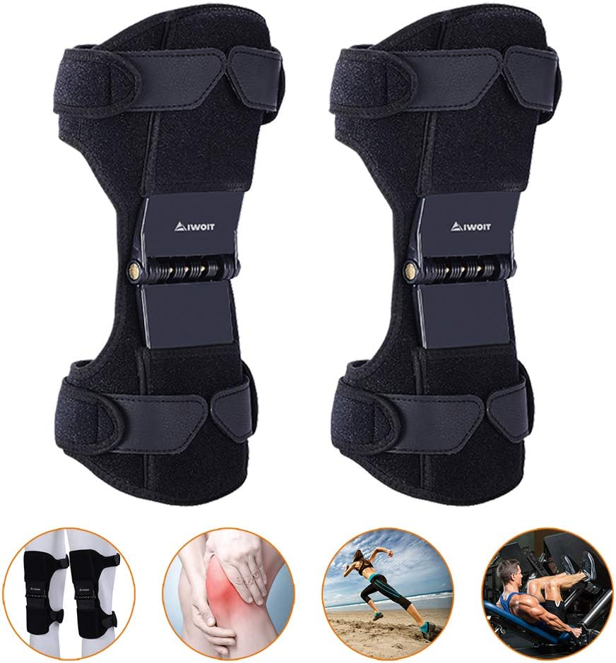AIWOIT Power Knee Stabilizer Pads, 2020 Updated 1 Pair Powerknee Brace Joint Support with 4 Powerful Springs, Protective Booster Gear for Men/Women Preventing Excessive Knee Flexion