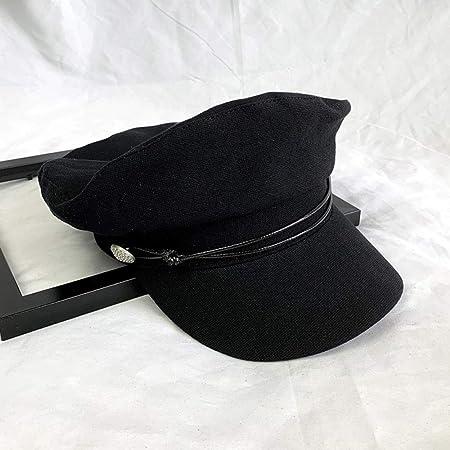 Boina de algodón y Gorra Azul Marino Gorra Negra Ajustable: Amazon ...