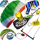 HQ Hydra II 350 V2 Kiteboarding CX Trainer Kite Bundle : (5 Items) Includes 2ND Control Bar Kite : CX 1.5M Foil Control Bar Trainer Kite + WindBone Kiteboarding Lifestyle Decals + WindBone Kitesurfing Key Chain + WB Kiteboarding Koozy Cooler : Water Trainer Foil Traction Power Kite
