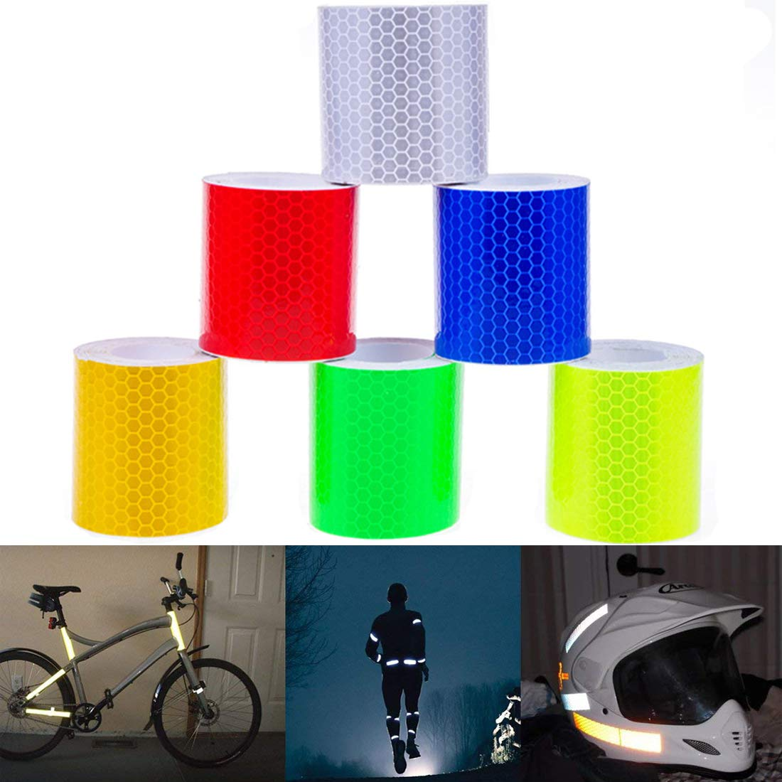 Set of 6-Multicolored BetMoony Reflective Tape Safety Warning Stickers Reflector Conspicuity Tape Stickers High Visibility Waterproof Cars Trucks DIY Decoration 2X10 Motorcycles