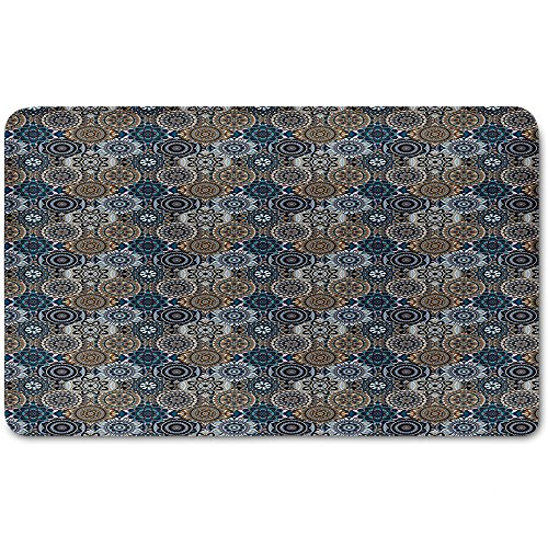 Memory Foam Bath Mat,Moroccan,Abstract Composition with Ancient Cultural Rich Flora and Arabian Design Elements DecorativePlush Wanderlust Bathroom Decor Mat Rug Carpet with Anti-Slip Backing,Multico by iPrint