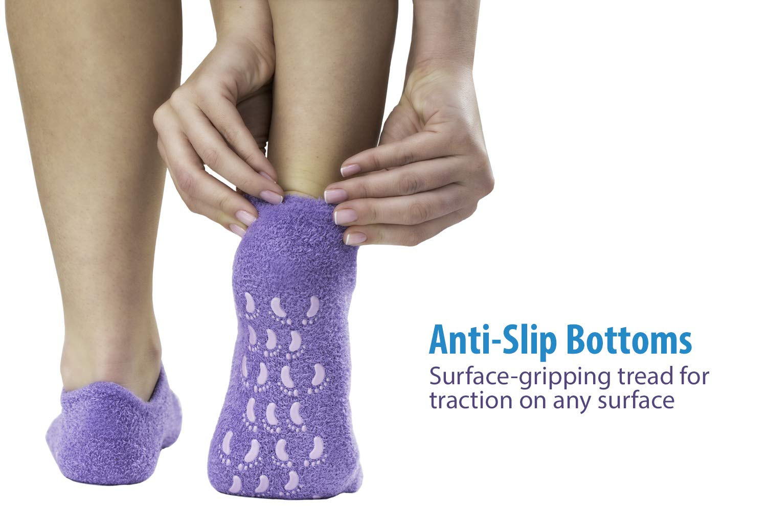 NatraCure Moisturizing Gel Socks - (Helps Dry Feet, Cracked Heels, Dry Heels, Rough Calluses, Cuticles, Dead Skin, Use with your Favorite Lotions, Creams or Spa Pedicure) - Color: Lavender : Beauty