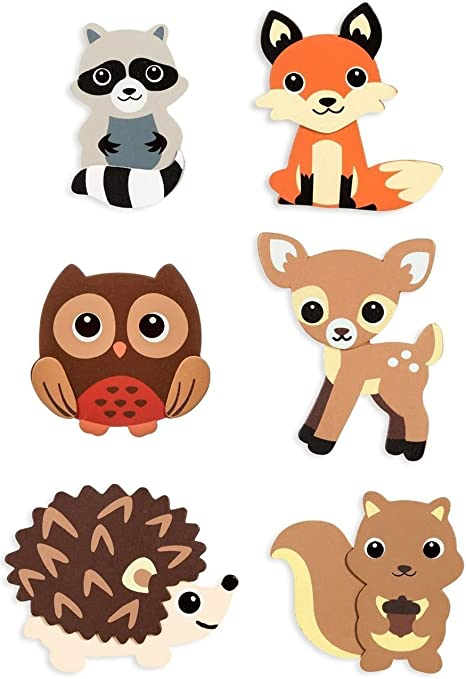Natural Wood Painted Woodland Creatures Cutouts- 6 Count Owl Fox and Raccoon DA 4336907277 Deer Hedgehog Squirrel