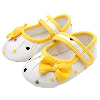 7a21a245e9ddf Balai Yellow Bowknot Soft Sole Infant Baby Girls First Walking Shoes   Amazon.co.uk  Shoes   Bags