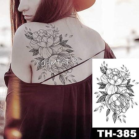 Handaxian 3 piezasPeony Encaje Flor Impermeable Tatuaje Pegatinas ...