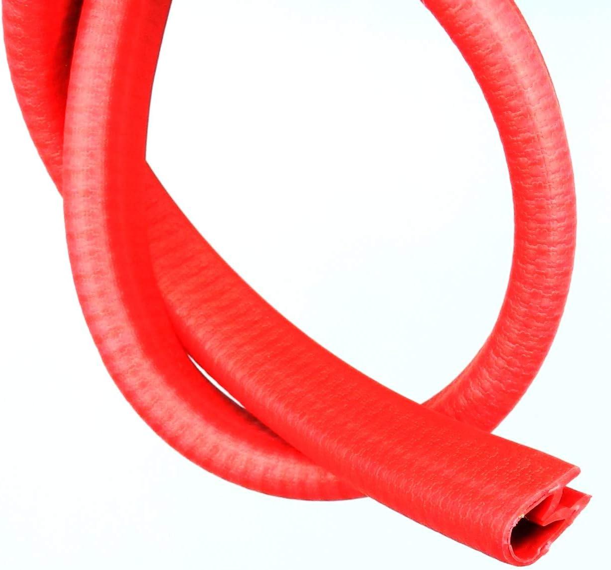 PVC Kantenschutz Profil Keder Band mit Metallger/üst blau rot KB 2-4mm 10x17mm. 10m, Rot Feuerrot /ähnlich RAL 3000