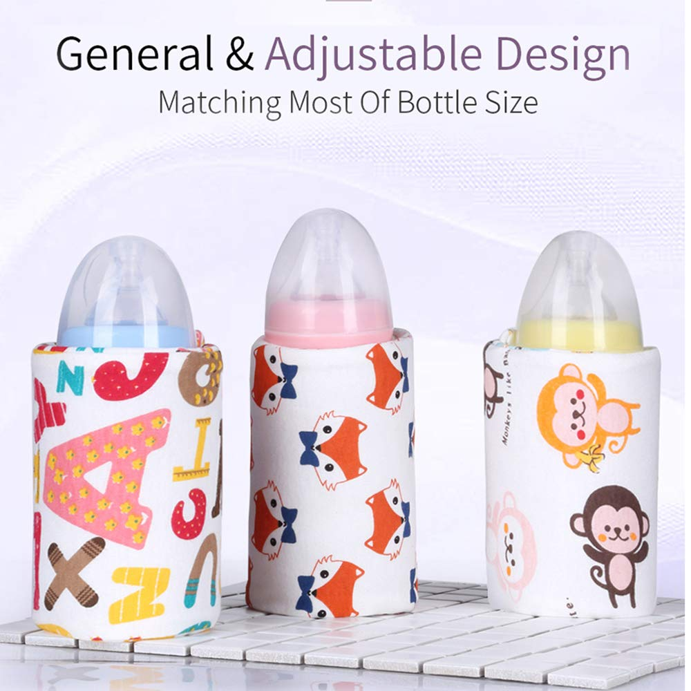 Festnight USB Bottle Warmer Heater Sleeve 40℃ Constant Temperature Portable Milk Heating Insulation Feeding Bottle Cover Coffee Tea Mug Beverage Warming Bag Fox