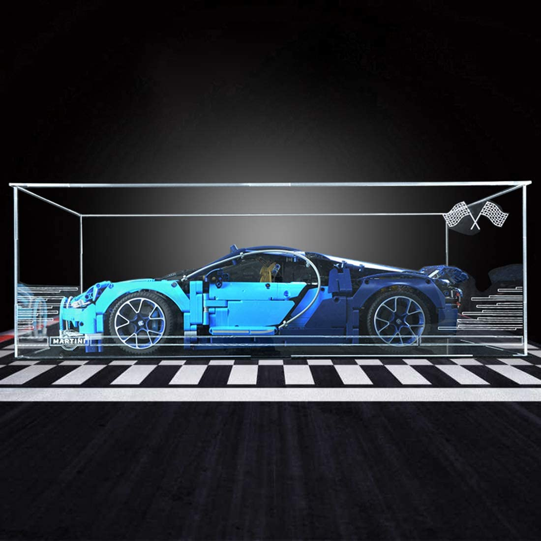 POXL Acrylic Display Case/Box for (Technic Bugatti Chiron) Building Kit Models - Dustproof Display Box Compatible with Lego 42083 (ONLY Display Box)