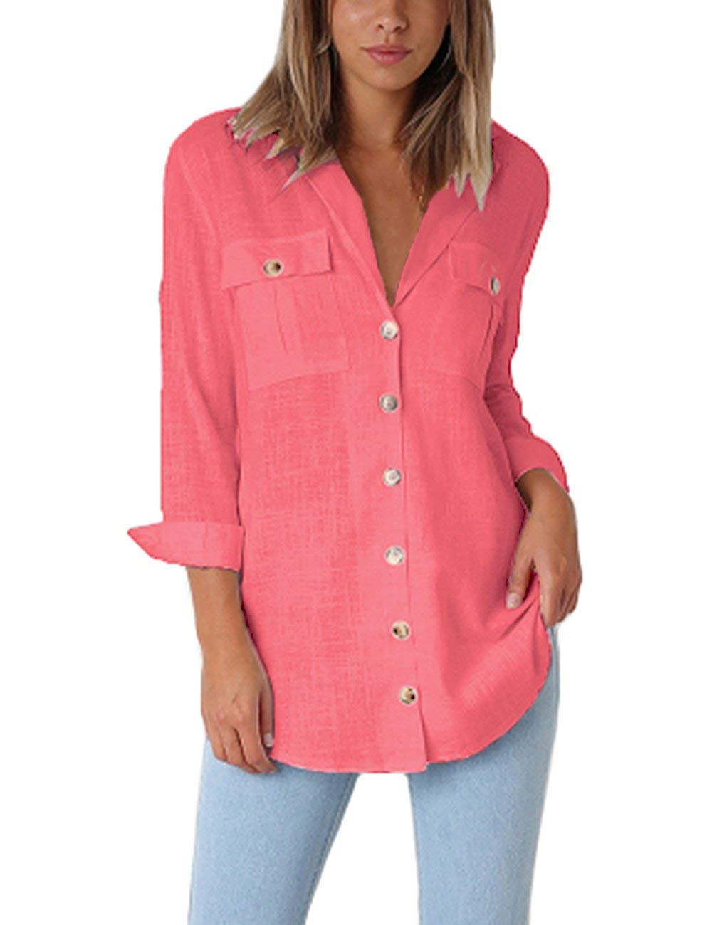 MIDOSOO Womens Button Down V Neck Chiffon 3/4 Sleeve Pocket Casual Blouses SolidTops Red M