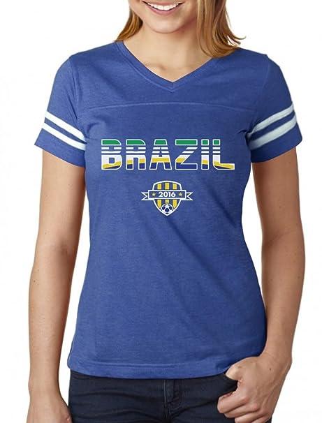 sale retailer 684cb 90720 Tstars - Brazil National Soccer Team 2016 Fans Women Football Jersey T-Shirt