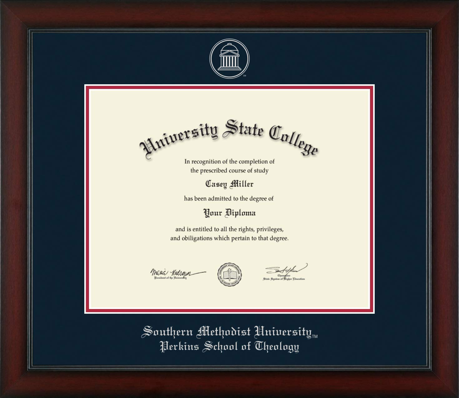 Southern Methodist University Perkins School of Theology - Officially Licensed - Silver Embossed Diploma Frame - Diploma Size 14'' x 11''