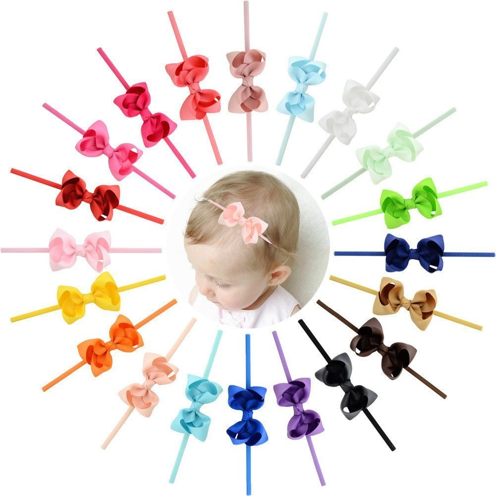 inSowni 20pcs 3'' Bow Headbands Grosgrain Ribbon for Baby Girl Toddler Newborn Kids (20PCS Bow S2) by inSowni (Image #1)