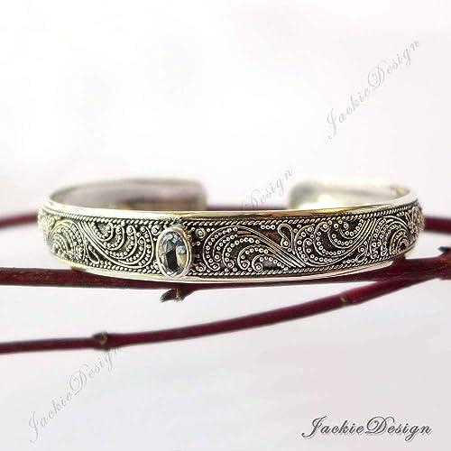 a999837b172 Amazon.com  Blue Topaz Bali Ocean Wave Ornate Handmade 925 Sterling Silver  Bangle Cuff Bracelet JD180  Handmade