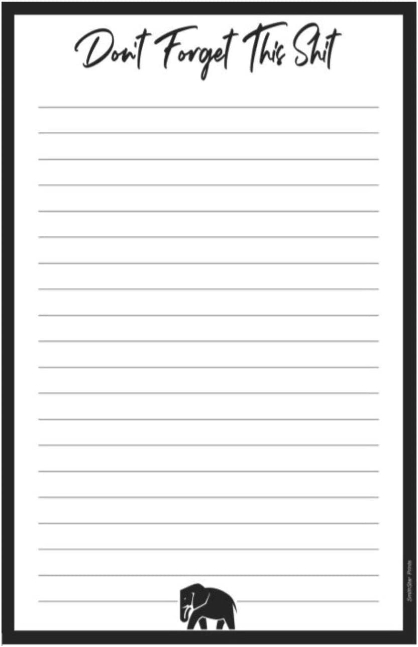 Don't Forget This Shit, Large Magnetic Notepad for Refrigerator | Grocery List, Shopping List, To Do List, Memo Pad, Honey Do List, Funny Gift Idea, 8.5 x 5.5 in (50 Sheets)