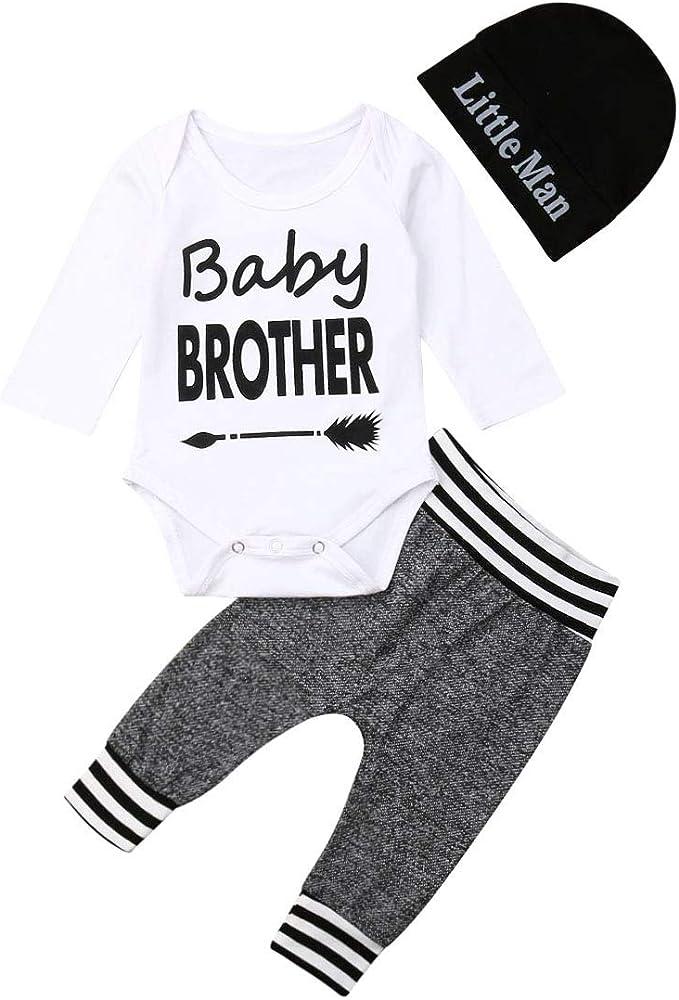 De feuilles Baby 3pcs Bekleidungssets Unisex Kinder Kleidungssets M/ütze Feder Druck Langarmshirts Streifen Hosen