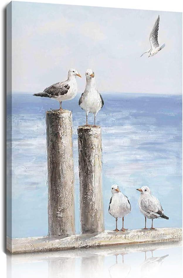 Woxfcart Wall Decor Art Seagull - Sea Birds Print Picture - Beach Bathroom Decoration,Canvas Framed Artwork - Blue Landscape Walls Décor 12