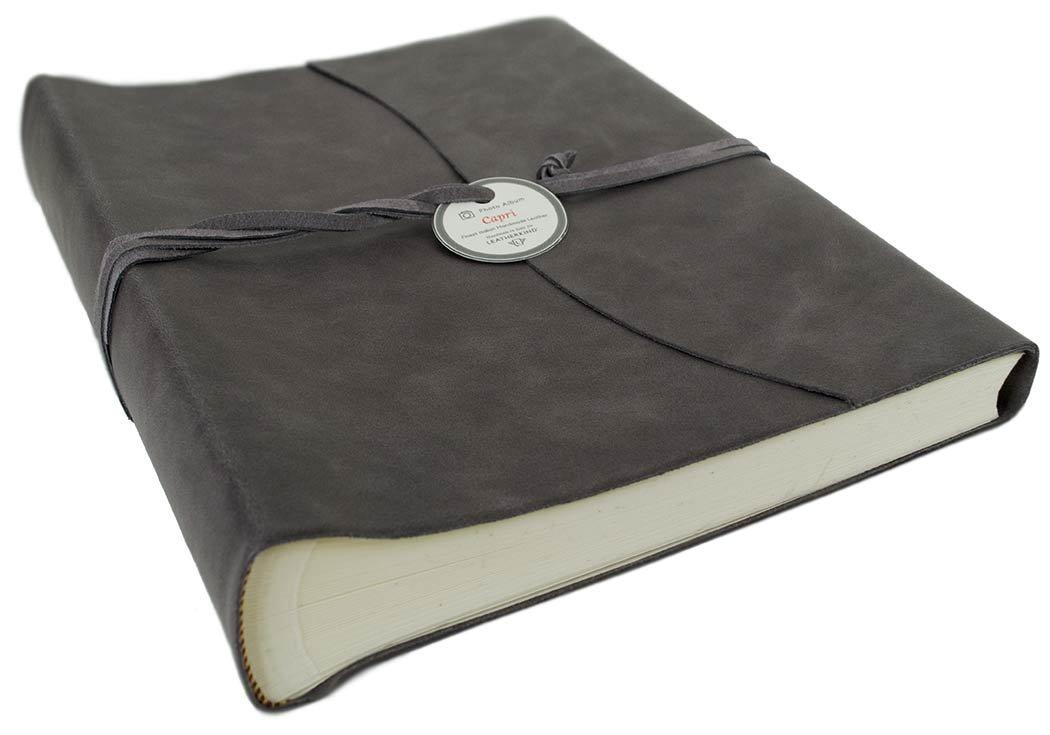 LEATHERKIND Capri Leather Photo Album, Large Charcoal - Handmade in Italy