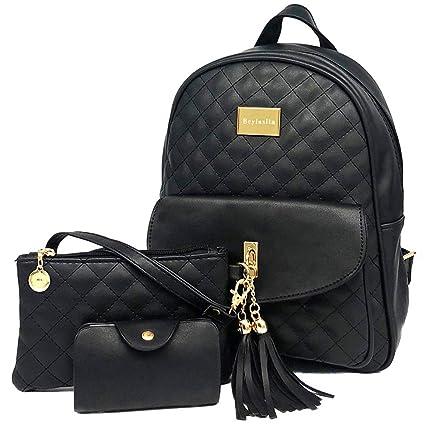 Beylasita® Moda Borsa Zainetto 3 in 1 Set Zaino Donna 3 pezzi Casuale Daypack Backpack in pelle PU con Clutch Portafoglio nero【Nuova Versione】
