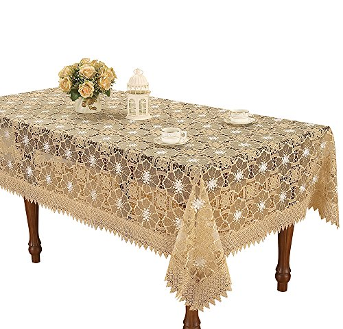 Simhomsen Beige Embroidered Lace Tablecloth 60 × 102 Inch -