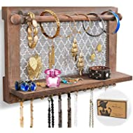 AshleyRiver Wall Mounted Rustic Jewelry Organizer Removable Bracelet Rod Earrings Necklaces...