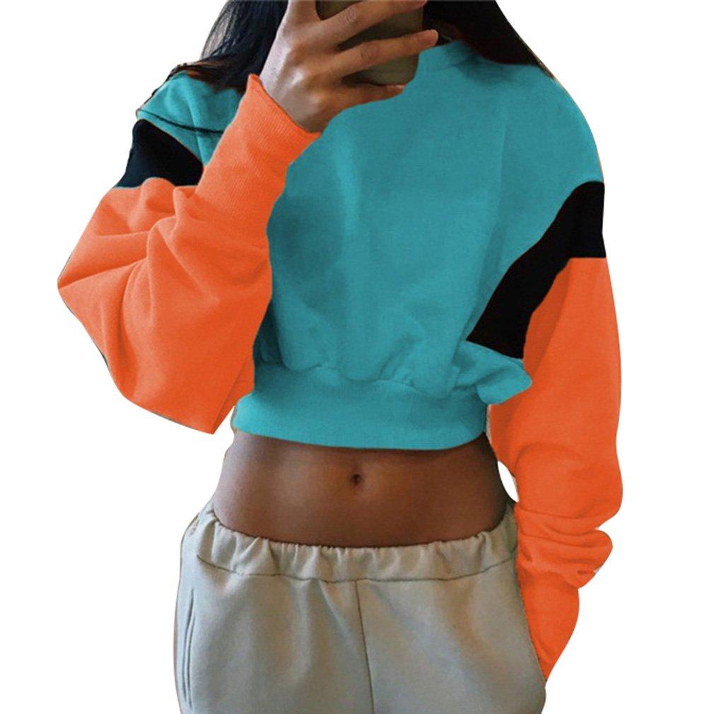 Herbst und Winter Mode Womens Crop Top Pullover Sweatshirt Nähte Rundhals Langarmhemd Jumpertops Casual Hoodie Bluse Größe S-XL