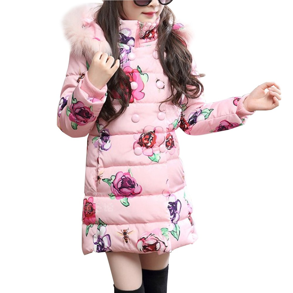 OCHENTA Girls Winter Warm Double-Breasted Print Parka Hooded Outwear Coat Age of 4-9