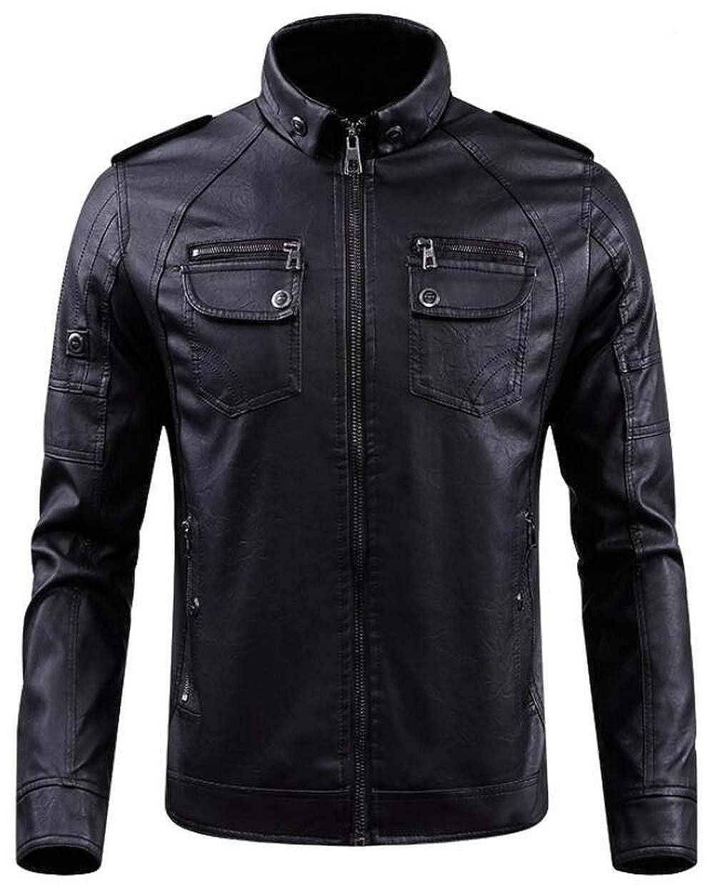 NBNNB Herren Retro Style PU Leder Motorrad Biker Jacke Stehkragen mit  Schultergurt  Amazon.de  Bekleidung e5877a4c10