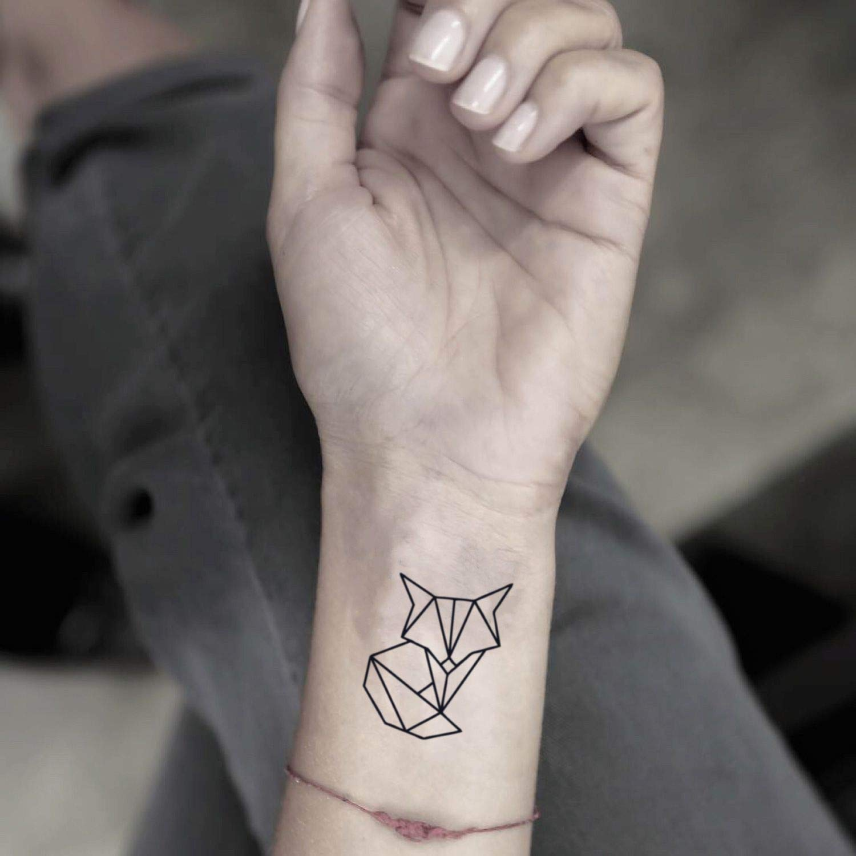 Tatuaje Temporal de Zorro geométrico (2 Piezas) - www.ohmytat.com ...