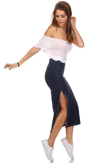 4728f5b4df11 MeshMe Womens Tanner - High Waist Classic Long Side Slit Pencil Denim Jean  Midi Short Skirt