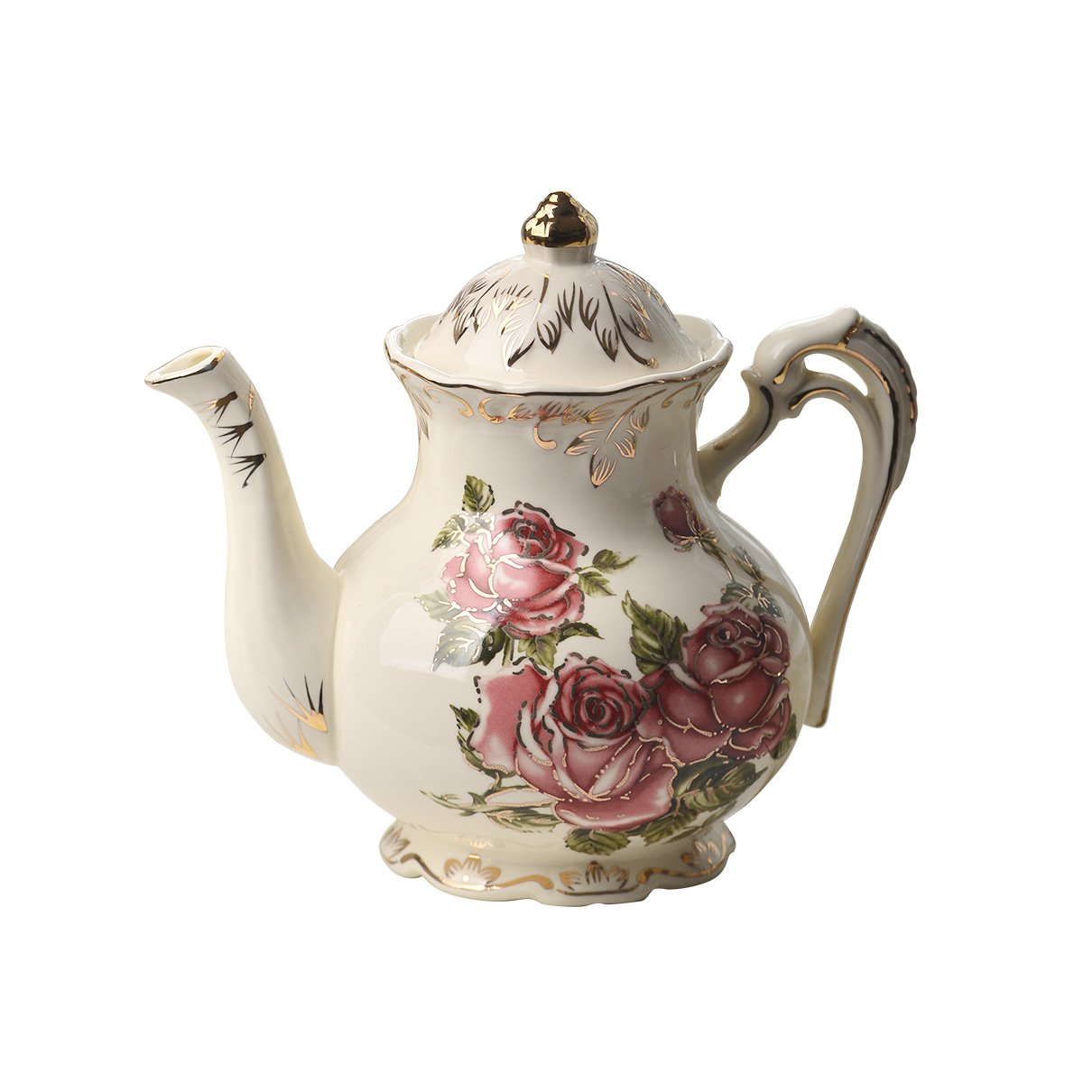 YOLIFE Red Rose Tea Pot, Ivory Ceramic Vintage Teapot with Gold Leaves Edge,For Women Gifts (29oz)