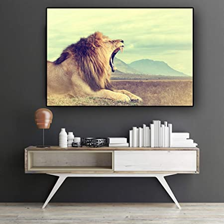 RTCKF Roaring Lion Wild Animal Landscape Canvas Painting ...