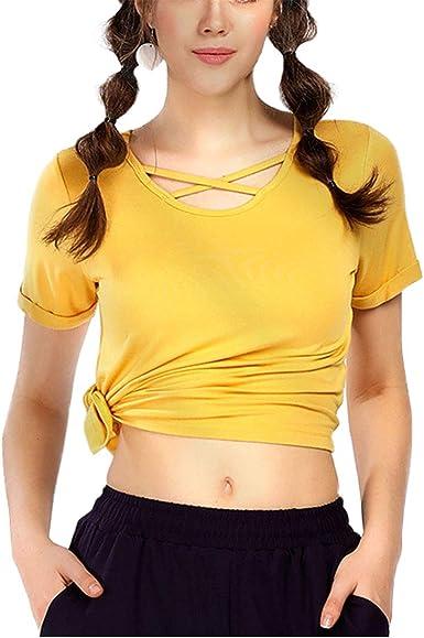 YONKINY Camiseta Deportiva Mujer Manga Corta Moda Verano Casual Blusa Tops Tanque Tops para Fitness Voleibol Golf Entrenamiento: Amazon.es: Ropa y accesorios